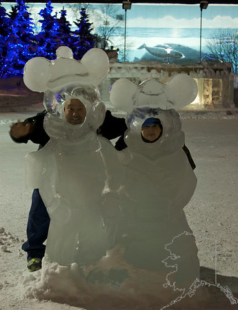 The Ice Sculptures in Anchorage this yesr. These are built by local artists every year around Fur Rondy time.  Donnette and I. It was about 12 degrees and about 2 am in the morning.