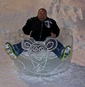 The Ice Sculptures in Anchorage this yesr. These are built by local artists every year around Fur Rondy time.  Me sitting in an Ice Bowl. It was about 12 degrees and about 2 am in the morning.