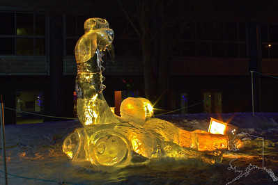 Every year Anchorage has a ice carving contest. This is scrat with his nut.