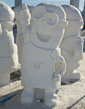 2014 Fur Rondy Snow Sculptures. Favorites were the Polar Bowler, Jesus and the Minions