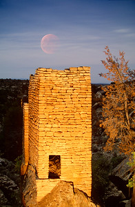 Ancient Tower & Fully Eclipsed Moon - Holly Group