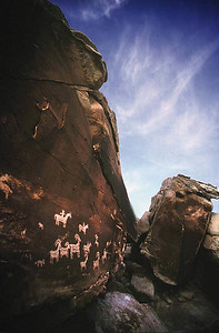 Wolf Cabin Petroglyphs.  Arches National Park, Moab, Utah