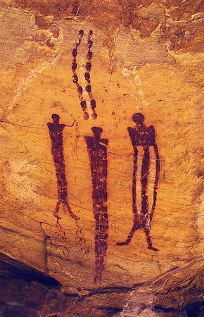 Ochre Cave Panel detail.  Archaic Pictographs near Goblin Valley State Park, Utah