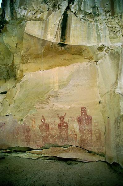 Sego Canyon Archaic Pictographs.  Big Men panel.  Thompson Springs, Utah