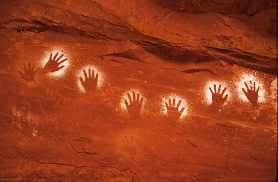 Arc of Negative Hand Prints.  Cedar Mesa, SE Utah