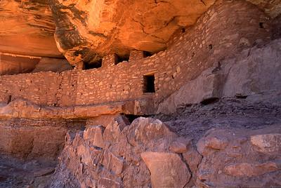 The main wall at Moonhouse Ruin west of Blanding, Utah.