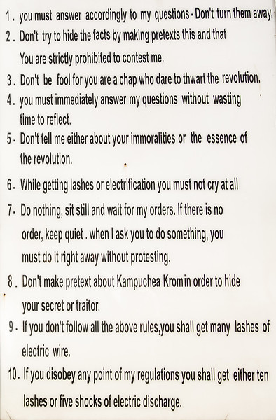 List of instructions (translated from Khmer) given to prisoners of the Khmer Rouge.