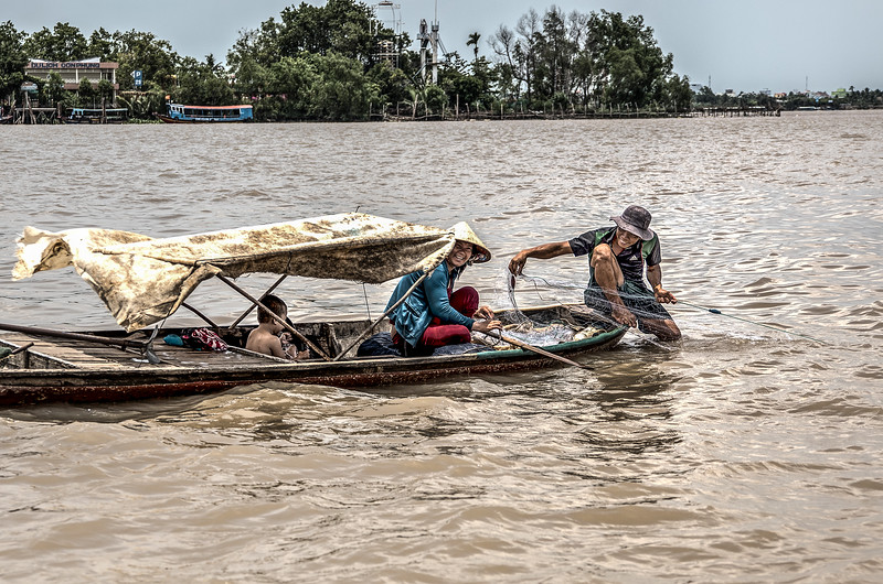 Family of fishers in the Mekong Delta, near Saigon.