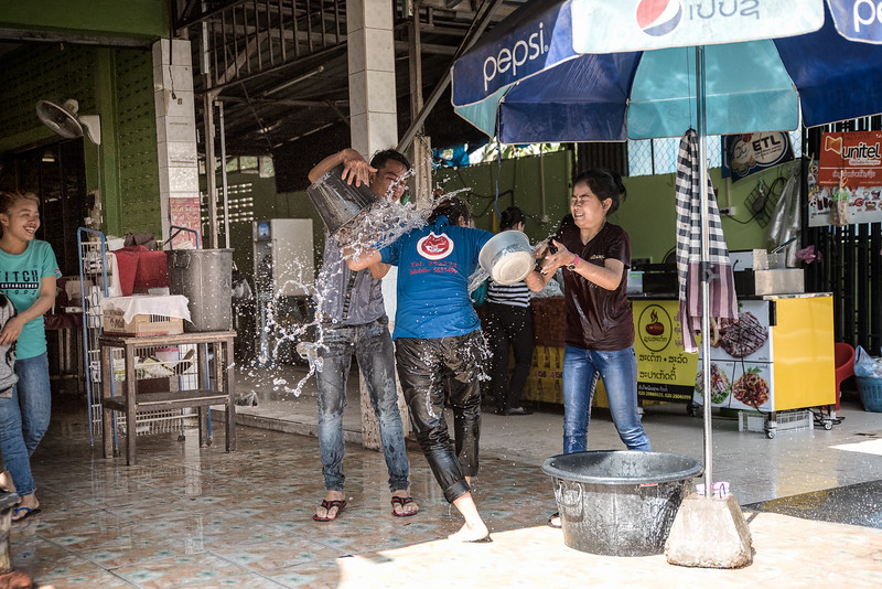The Lao New Year gives people an excuse to have water fights.