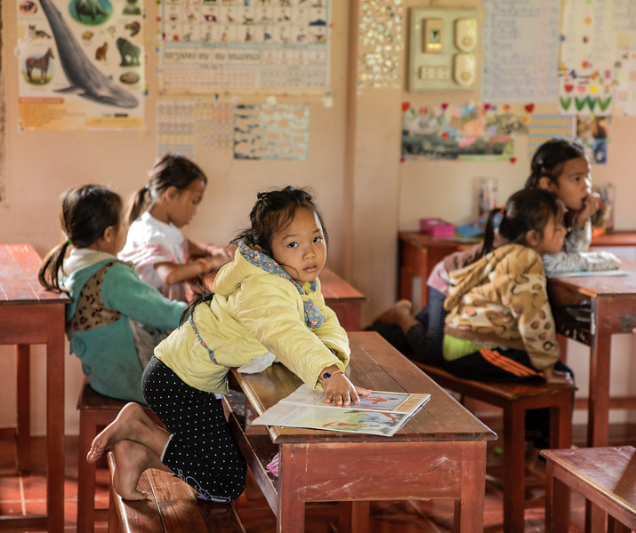 School room in village of Ban Tin Kaew , Laos.