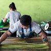 Making Thai cotton candy  in Ayutthaya, Thailand.