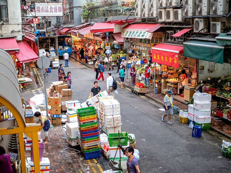 Hong Kong street market. Hong Kong is not an ancient kingdom, but it was a good place to stop before starting the trip through the other countries.