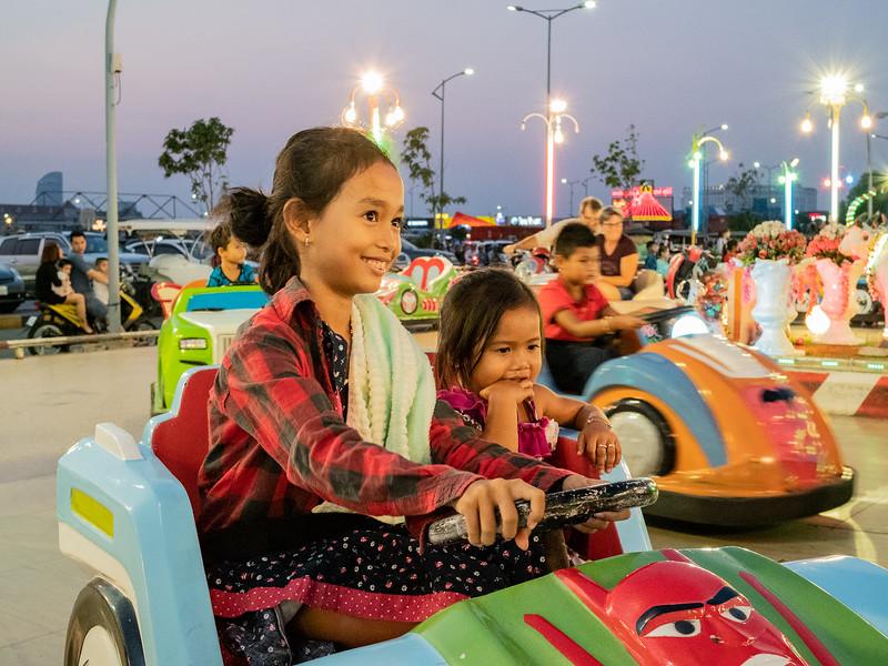 Children at Cambodia amusement park .