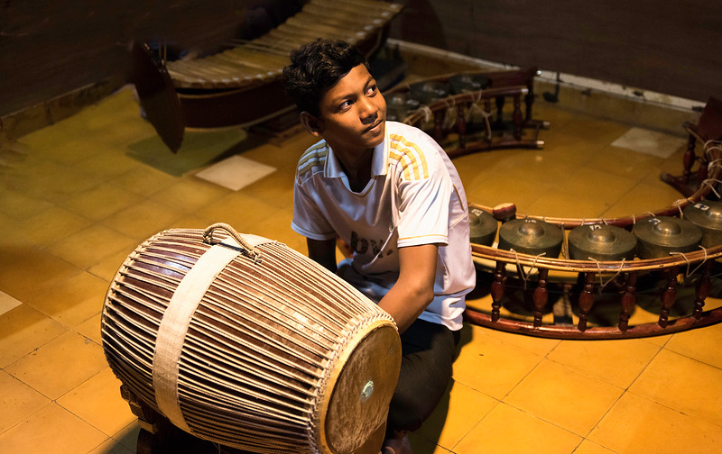Young drumming student at Champey  Academy of Arts, Phnom Penh.