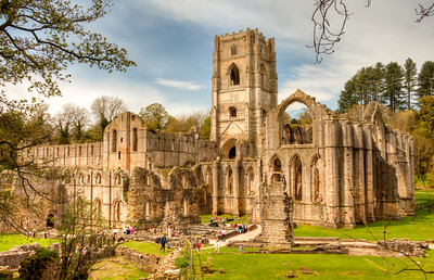 Ruins of Fountain Abbey, a Cistercian monastery founded in 1132 in North Yorkshire, England. It was one of hundreds of religious houses dissolved by King Henry VIII in the 1530s to 1540s.