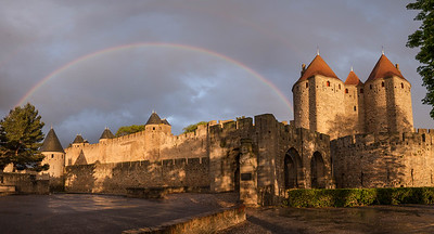 The medieval fortress town of Cite de Carcassonne in southern France. While settlement on this hilltop dates from at least 3500 BCE, the  town itself began about 100 BCE as a Roman settlement.