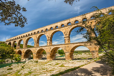 About 15 miles west of Avignon, France, the perfectly preserved Pont du Gard Roman aqueduct, built about 19 BCE.