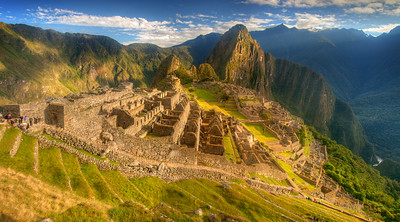 Macchu Pichu, 15th-century Inca citadel, located on a ridge at about 8000 feet of elevation.