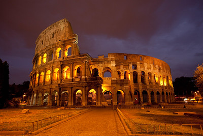 The remains of the Colosseum in Rome built in 70-80 AD.