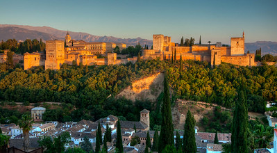 The Alhambra in Granada, Spain. It was mostly constructed between 1238 and 1358 as a palace and fortress of the Moorish monarchs. It is famous for containing some of the best Islamic art in the world.