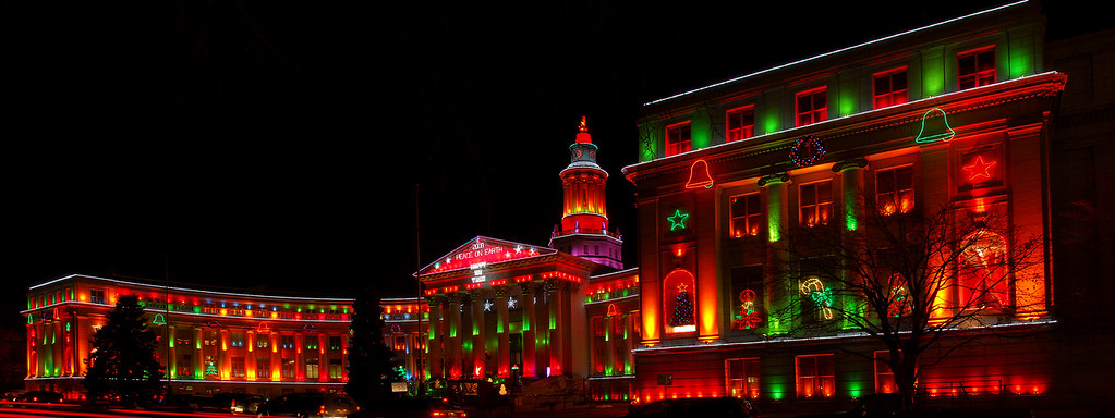 The Denver City and County building in the  new low voltage led holiday light. This panorama  was made with 6 vertical photos. 3seconds exp 100iso 31mm lens d200