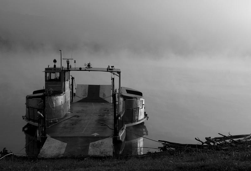 Boone 7 B&W morning fog.