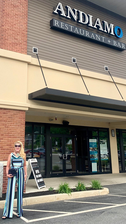 . Ciao Bella: The Z-List could barely fit into this striped jumpsuit after a night of being wined and dined at the plush Andiamo�s! I�m standing in front of the plush Andiamo Restaurant + Bar in the heart of Chelmsford Center! I hope you are all enjoying your summer!