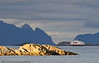 Lofoten sommer 2008. Hurtigruta på tur mot Svolvær. MS Polarlys bygget i 1996.