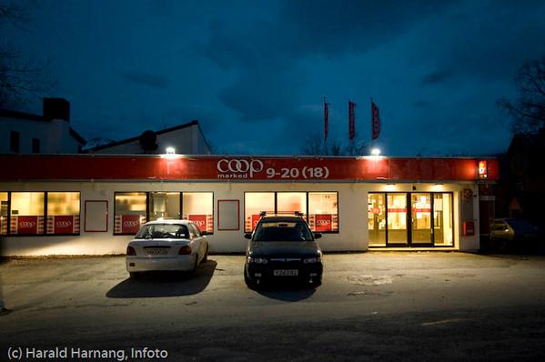 Coop i sentrum av Kjøpsvik en januar-ettermiddag. Foto: Morten Harnang
