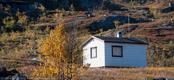 Klassisk eldre lita hytte ved Geitvatnan på Bjørnfjell.