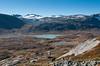 Skjomfjellet: På tur opp mot Storsteinsfjellbreen. I bakgrunnen demning og tipp. Vei fra Skjomdalen. Utsikt mot sør.