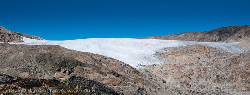 Skjomfjellet: Storsteinsfjellbreen, sept 2013. Breen er en av mange som har krympet kraftig de siste årene.