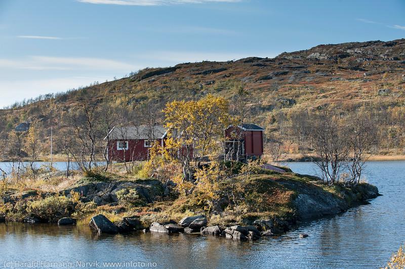 """Hytte på lita """"øy"""" i Nordstrømvannet på Bjørnfjell."""