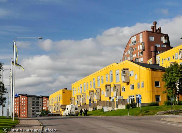 Kiruna, sommer 2008. Bolighus i sentrum.
