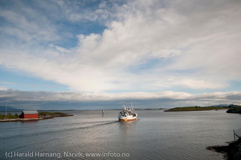 Brønnøysund, skipstrafikk rett nedenfor Brønnøysundregistrene. Foto 24. mai 2011.