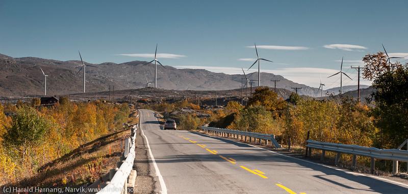 E10, mellomriksveien. Bak Nordkraft Vinds 14 møller i mølleparken på Skitdalshøgda. 15. sept 2014.