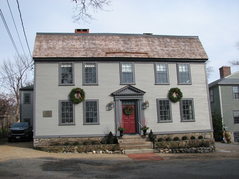The house Gen. Glover built in 1762, in which he lived until 1782. Note the plaque at the left corner.