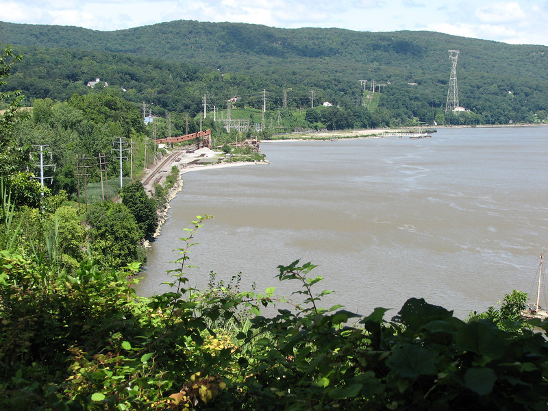 View from the trail. King's Ferry docked on the shore on the left side of this photo. The area has been developed since, including the railroad tracks. The site is now private property.