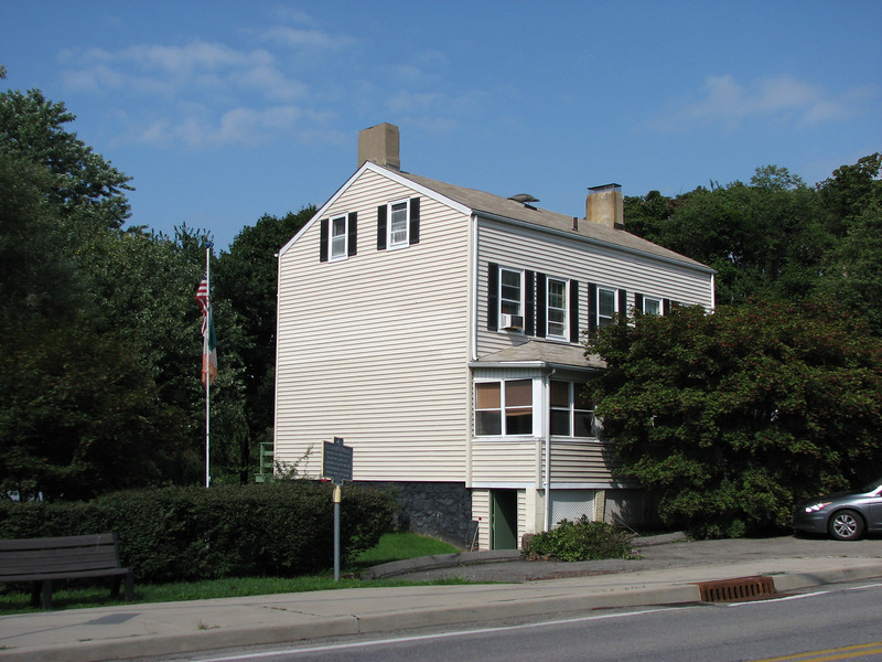 View of the Post Hannock House showing the historical marker alongside.