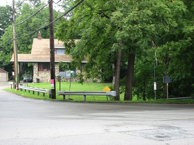 View of the marker and the residence that currently occupies the site of Taylor Tavern.