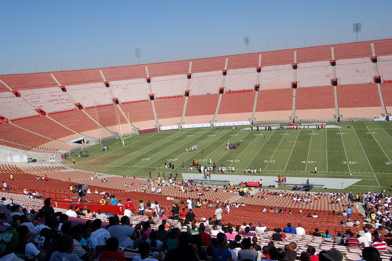 At the top of the day, a few early birds came to see the Youth Football games play in the Coliseum--what an honor!