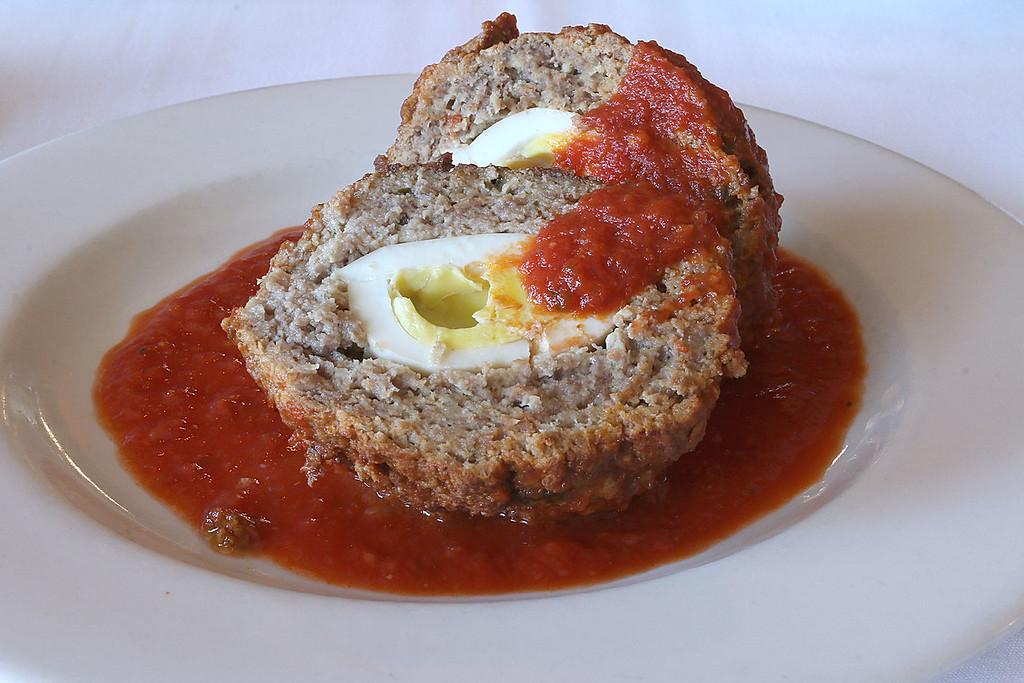 . The large stuffed meatball at Angelina\'s Italian Restaurant in Tewksbury. SUN/JOHN LOVE