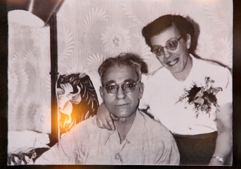 Owner of Angelina's Italian Restaurant in Tewksbury Susan Amato. The pictures on the wall are pictures of her family. This is apicture of Owner Susan Amato's grandparents Benny and Angelina Tieri. SUN/JOHN LOVE
