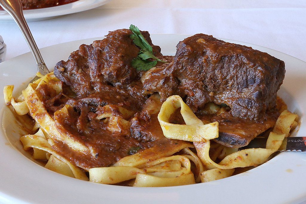 . The short ribs are slow simmered in a red wine sauce and served over tagliatelle at Angelina\'s Italian Restaurant in Tewksbury. SUN/JOHN LOVE
