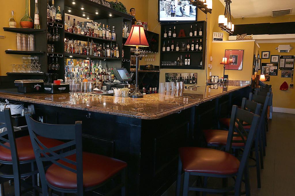 . The bar at Angelina\'s Italian Restaurant in Tewksbury. SUN/JOHN LOVE