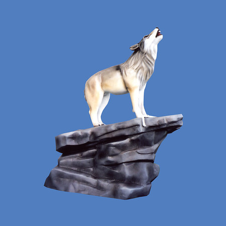 Wolf On Rock Base, life size #7204