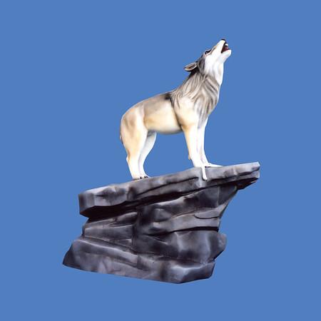 Wolf On Rock Base #7204