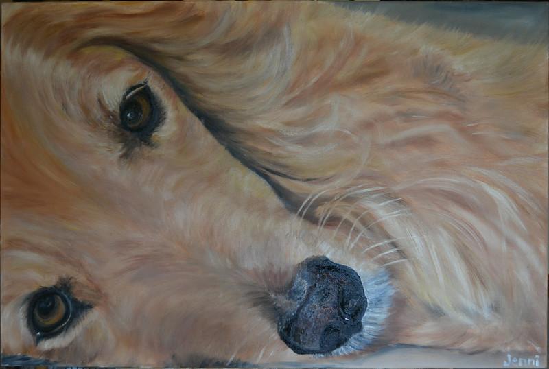 """""""Dinoeyes"""" (oil on canvas) by Jennifer Erdman"""