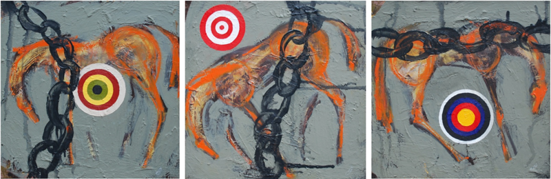 """Target 1, 2 & 3"" (oil on board) by Audra Fleck"