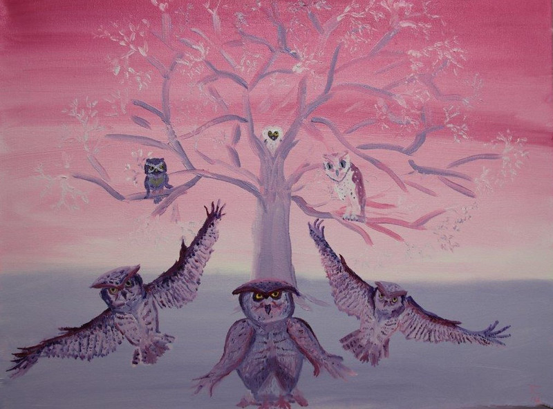"""""""Odd Birds in the Family Tree"""" (oil on canvas) by Judy Challis"""